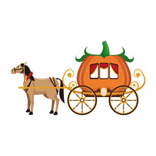Pumpkin Carriage With Horse Ca...