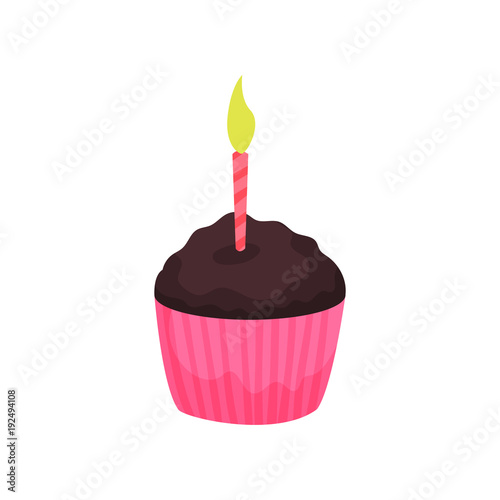 Photo  Birthday cupcake or muffin with burning candle