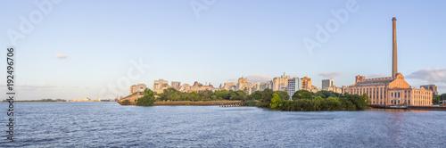 Cityview with Gasometro and Guaiba Lake at sunset, Porto Alegre Canvas Print