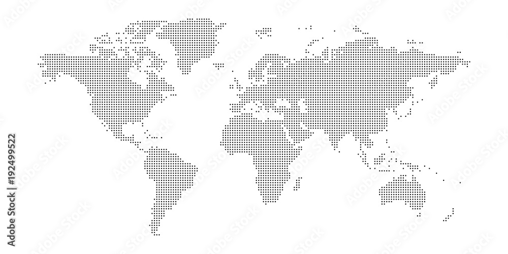 Fototapety, obrazy: Vector dotted world map.