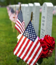 American Flags And  Tombstones...