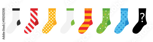 Obraz Set, collection of colorful socks icons with different ornaments isolated on white background. - fototapety do salonu