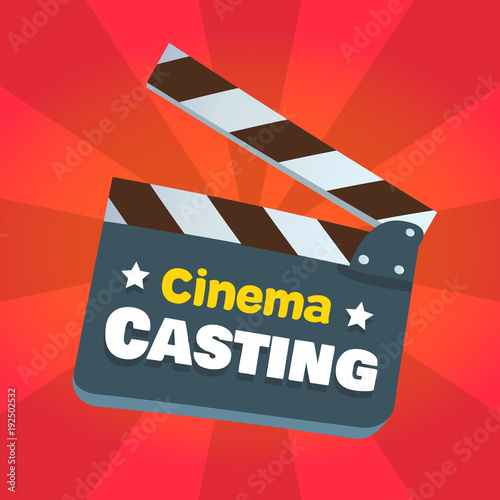 vector cinema casting bright clapper board advertisement illustration
