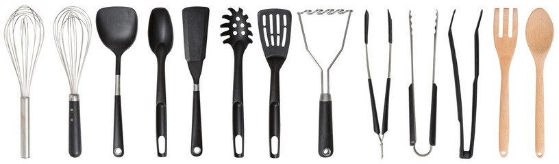 Set. Kitchen accessories. Tools for cooking. A spoon. Isolated on white background. For your design. An object.