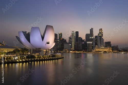 Singapore skyline at the Marina Bay during blue hour