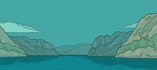 Panorama Fjord In Norway. Vintage Vector Color Engraving