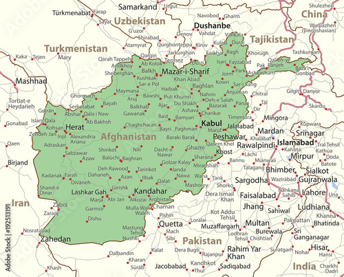 Afghanistan-World-Countries-VectorMap-A Canvas Print