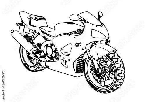 Keuken foto achterwand Motorfiets sketch of a motorcycle vector.
