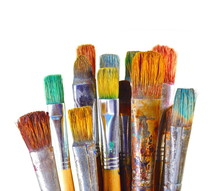 Various Dirty Paint Brushes. A...