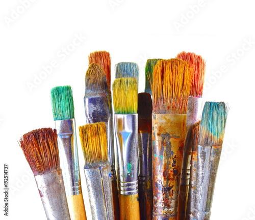 Fototapeta Various dirty paint brushes