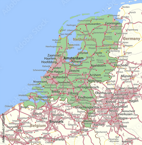Foto Netherlands-World-Countries-VectorMap-A
