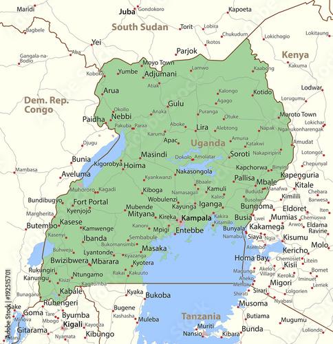 Uganda-World-Countries-VectorMap-A Wall mural