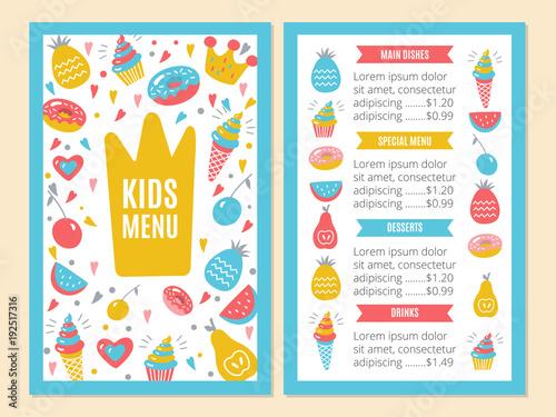 Kids Menu Template Buy This Stock Illustration And Explore Similar