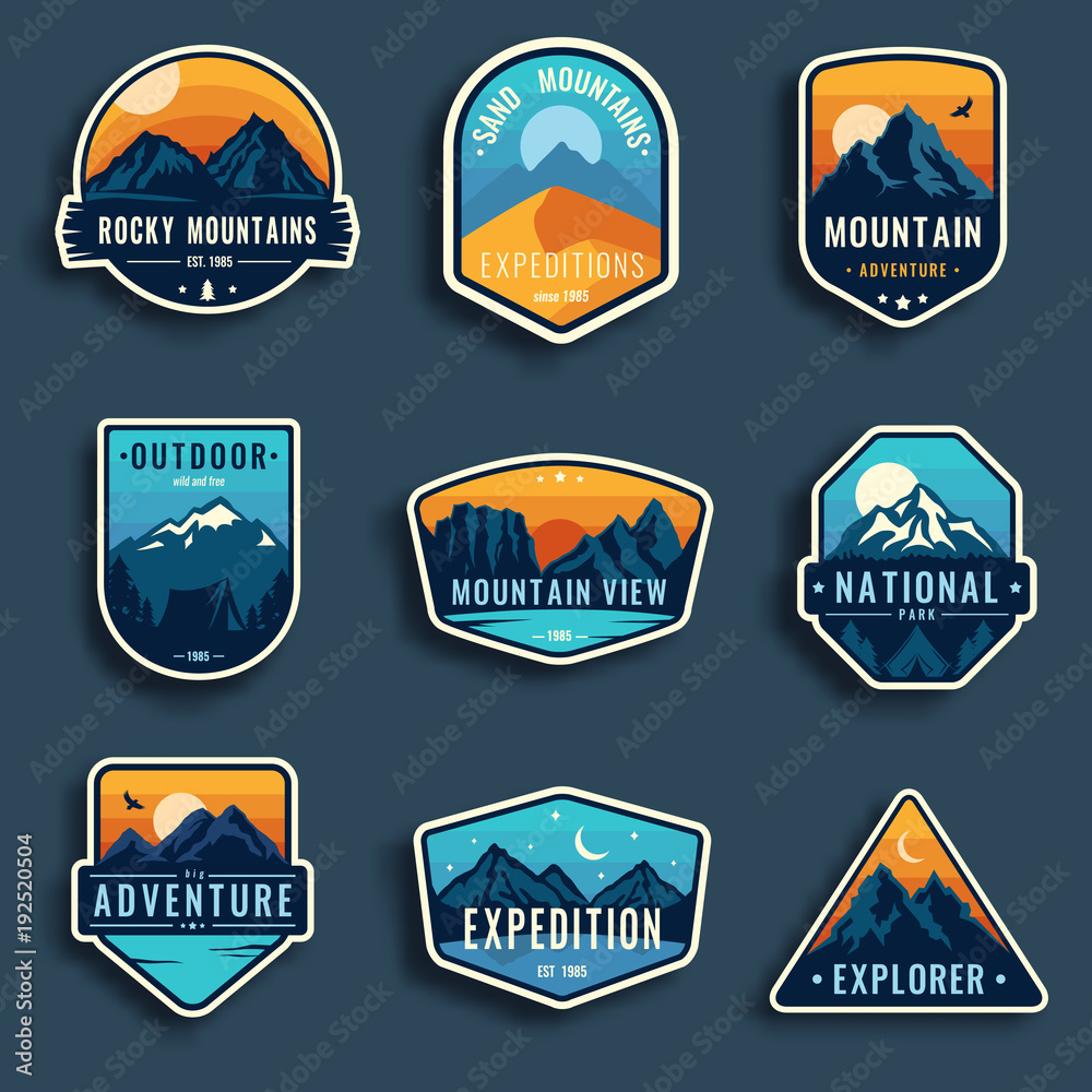 Fototapety, obrazy: Set of nine mountain travel emblems. Camping outdoor adventure emblems, badges and logo patches. Mountain tourism, hiking. Forest camp labels in vintage style