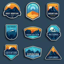 Set Of Nine Mountain Travel Em...