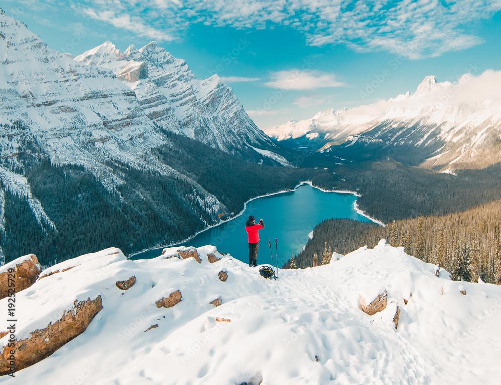 Fototapeta Enjoying the stunning Peyto Lake views in Banff National Park