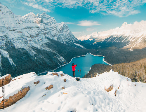 Aluminium Prints Green blue Enjoying the stunning Peyto Lake views in Banff National Park