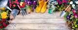 Gardening Top View Composition - Tools And Flowerpots On Wooden Table