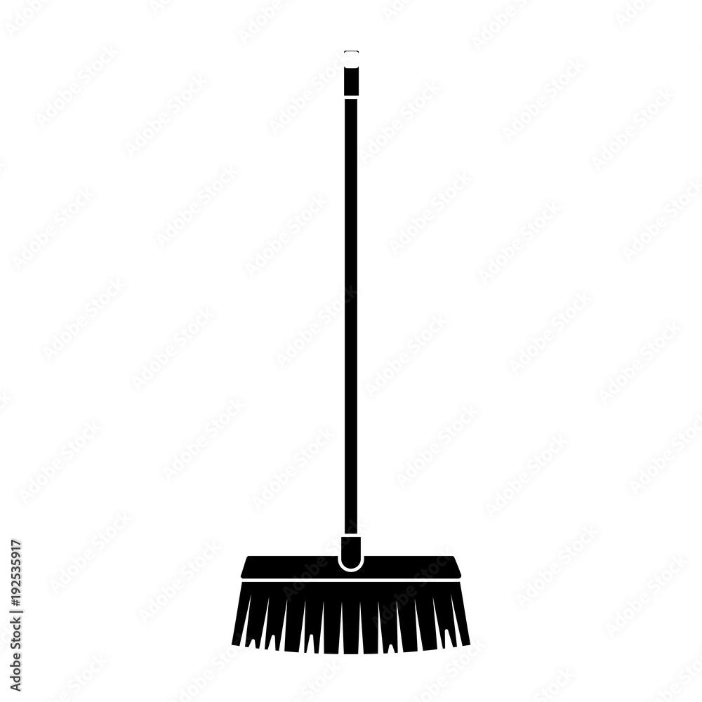 Fototapeta broom long wooden handle tool for cleaning vector illustration black and white design