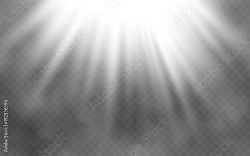 Fototapeta Light effect and smoke on transparent background. Abstract bright lighting. Creative light concept. Vector illustration obraz