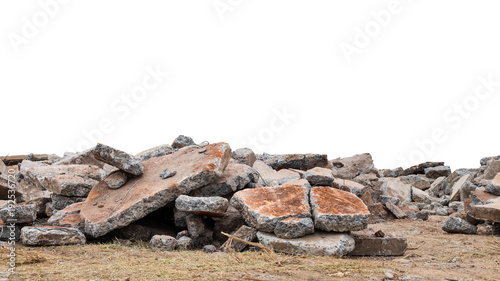 Photo  Isolate pile of concrete debris destroyed.
