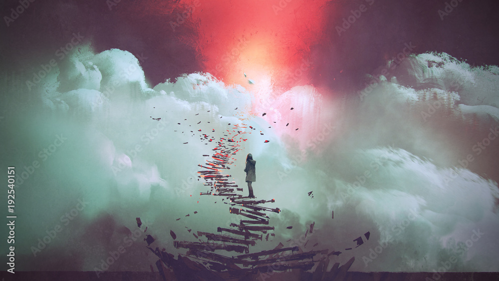 Fototapeta young woman standing on broken stairs leading up to sky, digital art style, illustration painting