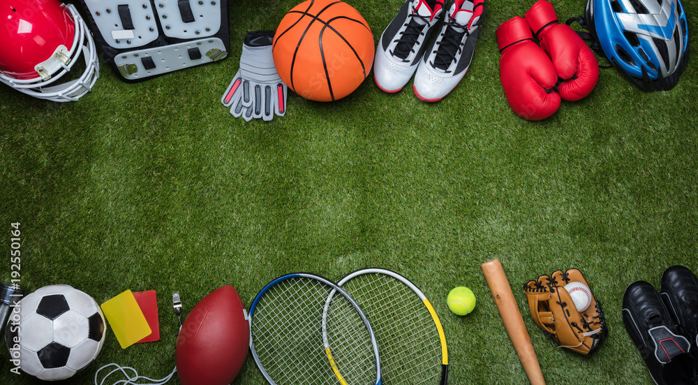 Fototapety, obrazy: Various Sport Equipments On Grass