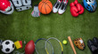 canvas print picture - Various Sport Equipments On Grass