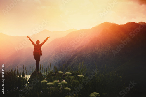 Girl traveler with backpack hiking. Concept travel, lifestyle adventure active summer vacations outdoor rocky background mountains