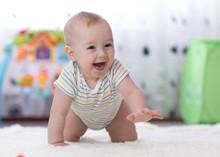Crawling Funny Baby Boy In Nur...