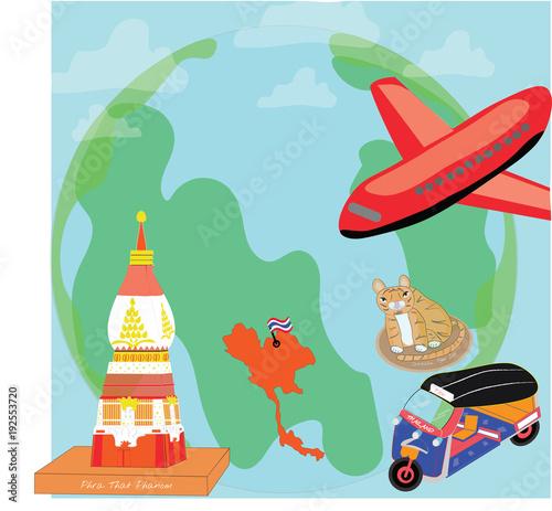Poster Castle Travel to Thailand illustration