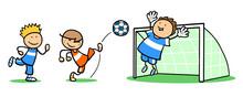 Gruppe Kinder Beim Fußball Sp...
