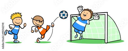 Gruppe Kinder Beim Fussball Spielen Kaufen Sie Diese