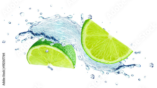 Keuken foto achterwand Opspattend water lime splashing water isolated on white