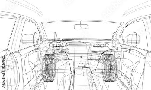 Sketch of car interior. Vector rendering of 3d Fototapet