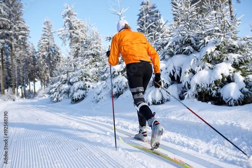 Skifahrer in Winterlandschaft, Rennsteig, Thüringen, Jacke orange 8