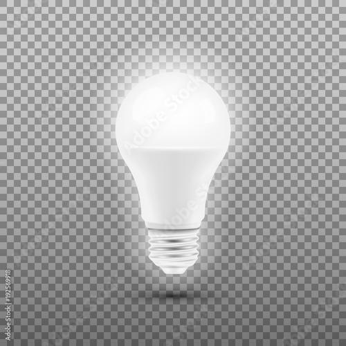 Photo  Glowing LED bulb isolated on transparent background