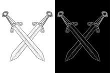 Crossed Swords. Viking Weapon....