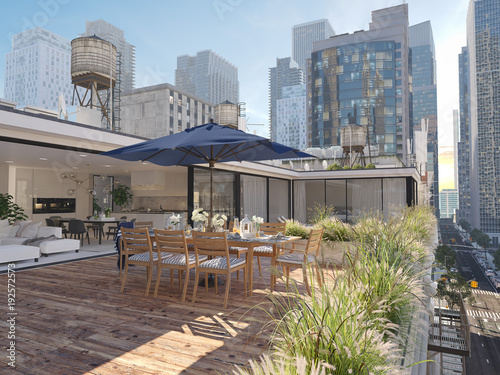 Stampa su Tela penthouse terrace in a big city. 3d rendering