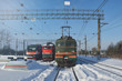 railroad, diesel locomotives and electric train in the dead end at winter