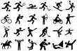 Large and detailed set of different sports icons