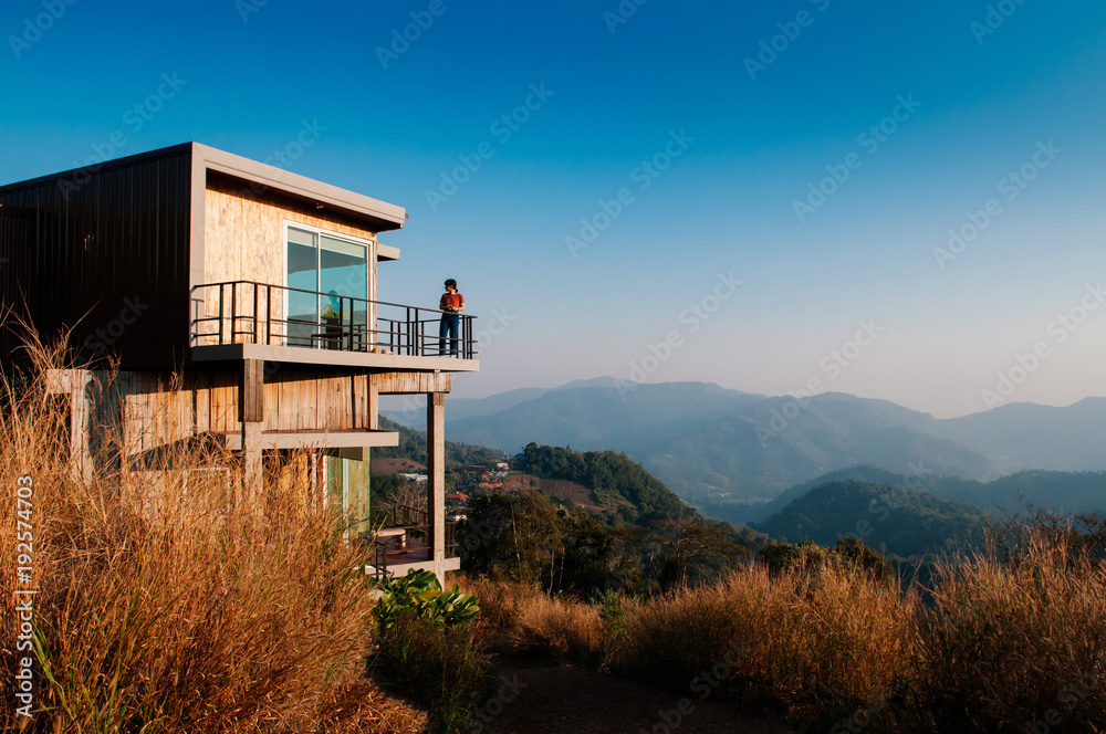 Fototapety, obrazy: Modern wooden cabin country house on grasshill with mountain view
