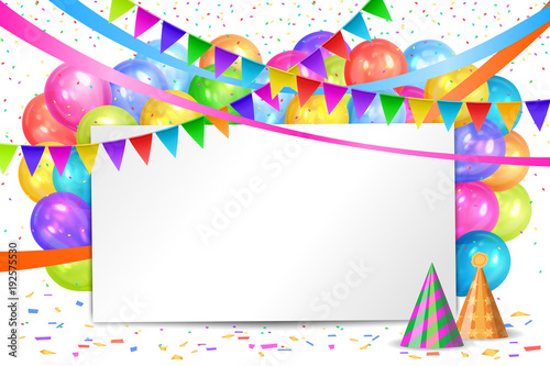 Happy Birthday design. Border of realistic colorful helium balloons ...