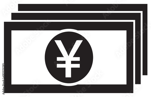 Yen Yuan Or Renminbi Currency Icon Or Logo Vector On A Bank Note Or