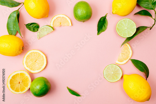 Cuadros en Lienzo  Lime and lemon frame on pink background