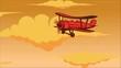 Retro style animation of sky with aeroplane. Cartoon style aviation transport
