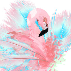 NaklejkaBeautiful vector illustration with drawn pink flamingo and blue feathers