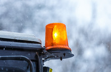 Orange Flashing Light On A Truck