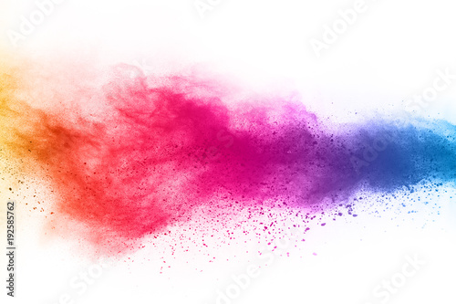 Fototapeta abstract powder splatted background. Colorful powder explosion on white background. Colored cloud. Colorful dust explode. Paint Holi. obraz