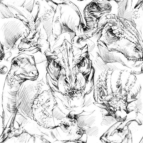 Photo  Dinosaurs seamless pattern. hand-drawn watercolor illustration